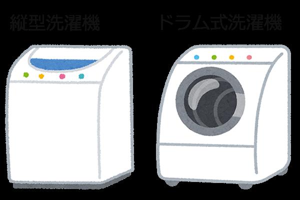 縦型洗濯機とドラム式洗濯機のイラスト